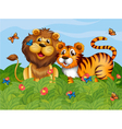 A lion tiger and butterflies in the garden vector
