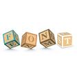 Word font written with alphabet blocks vector