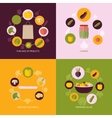 Vegetables icons flat set vector