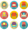Flat design long shadow effect sofa icons set vector