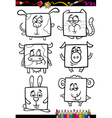 Cute animals cartoon coloring book vector