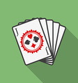 Playing cards icon modern flat style with a long vector