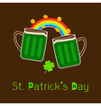 St patricks day two green beer glass rainbow coin vector