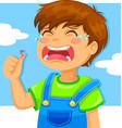 Crying boy vector