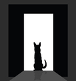 German shepard at the door silhouette vector