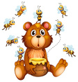 Bear and bees vector