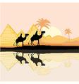 Bedouin camel caravan in wild africa landscape vector
