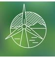 Wind turbine linear icon eco generating vector