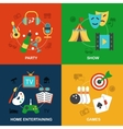 Entertainments icons flat vector