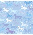 Seamless pattern with wild horses and snowflakes vector