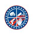 Security cctv camera gun fist hand circle vector