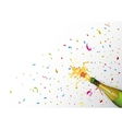 Champagne explosion with ribbon and confetti vector