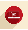 Laptop with shopping cart vector