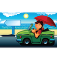 Young man going to the beach by cabriolet vector