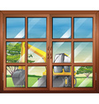 A window with a view of the bulldozer outside vector