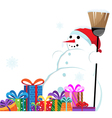 Snowman in a red santa hat with a broom vector