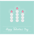 Three candles button on blue valentines day vector