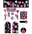 Black and pink party items vector