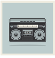 Classic 80s boombox on retro background icon vector