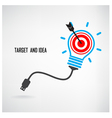 Creative light bulb and target concept background vector