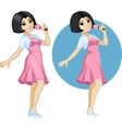 Cute young asian woman singer vector