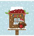 Christmas birdhouse vector