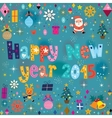 Happy new year 2015 retro greeting card vector