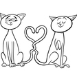 Cats in love cartoon coloring page vector