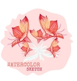 Watercolor painted flowers vector