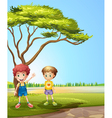 Two young boys near the road vector