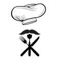 Chefs hat moustache and cutlery vector