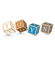 Word toys written with alphabet blocks vector