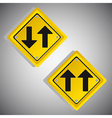 Arrows yellow signs over gray background vector