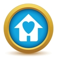 Gold love house icon vector