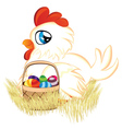 White hen with easter eggs basket2 vector
