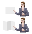 Business woman holding a banner vector