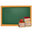 Back to school green desk apple vector