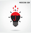 Creative lamp and protection concept background vector