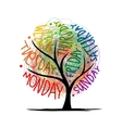 Art tree design with 7petal days of week vector