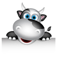 Cute cow cartoon with blank sign vector