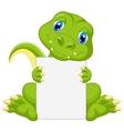 Cute dinosaur cartoon holding blank sign vector