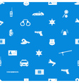 Police icons blue and white seamless pattern eps10 vector