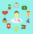 Set flat medical icons for web design - vector