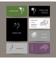 Set of business cards design female hairstyle vector