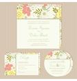 Floral wedding invitation set vector