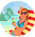 Girl with cokctail on the beach vector