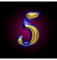 Golden and blue letter 5 vector