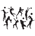 Silhouettes beach volleyball vector