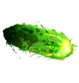 Cucumber made of colorful splashes on whit vector