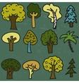 Set of twelve cute cartoon hand-drawn trees vector